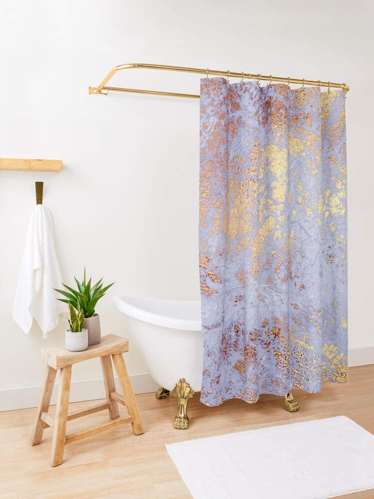 Alternate view of Purple Marble with Gold Veins  Shower Curtain