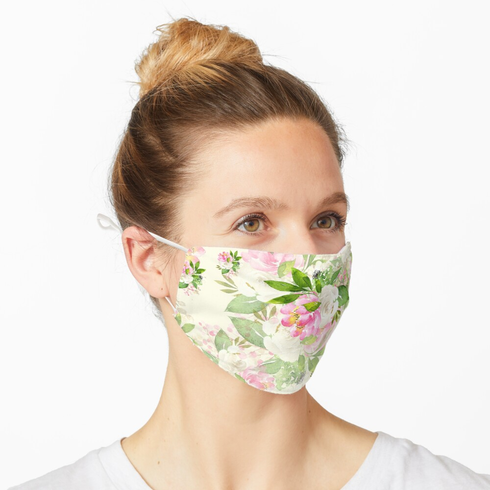 Pink and White Flowers Mask