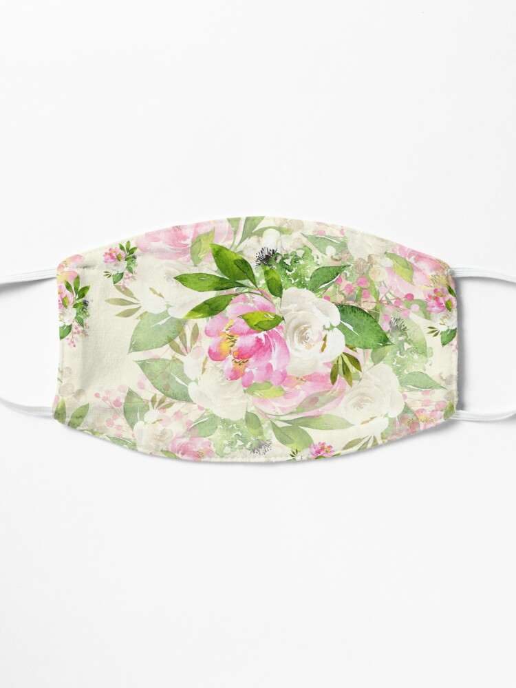 Alternate view of Pink and White Flowers Mask