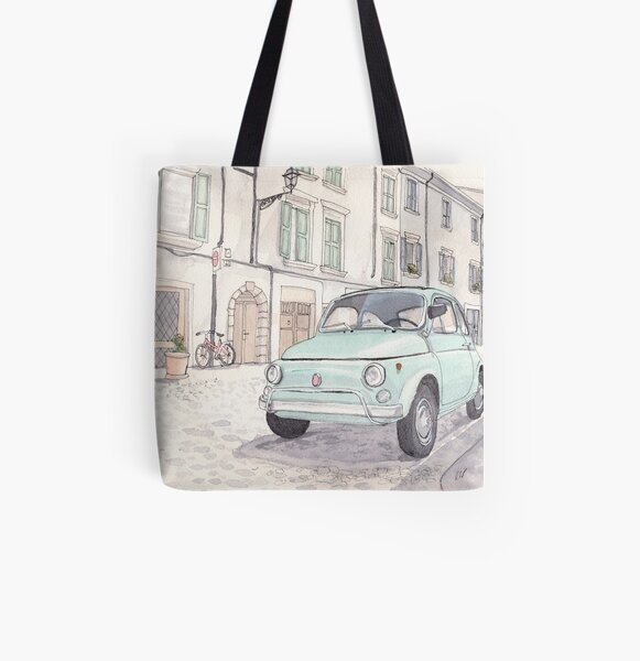 Vintage Fiat 500 All Over Print Tote Bag
