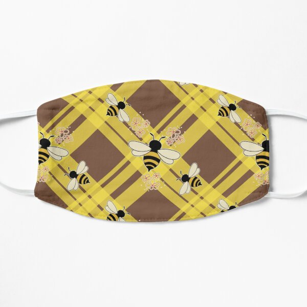Plaidweave and Bees Flat Mask