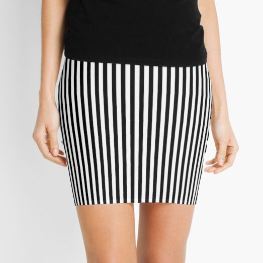 Black and white Vertical Stripes Mini Skirt