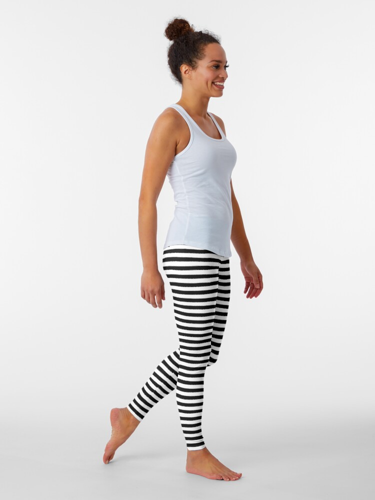 Alternate view of Black and White Horizontal Stripes Leggings