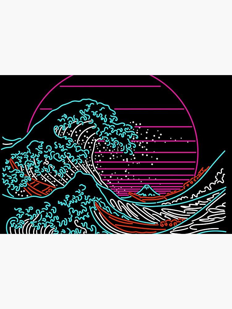 Great Neon Wave - Great Wave Off Kanagawa - Vintage - Retrowave - 80s by therocketman