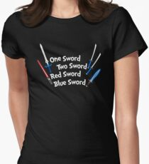 One Sword, Two Sword, Red Sword, Blue Sword Women's Fitted T-Shirt