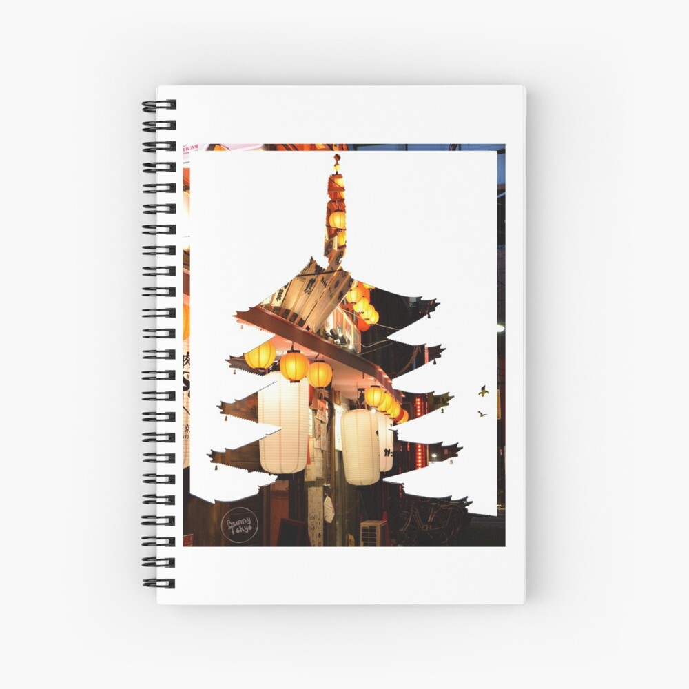 Shinjuku lights in Sensoji Pagoda Spiral Notebook