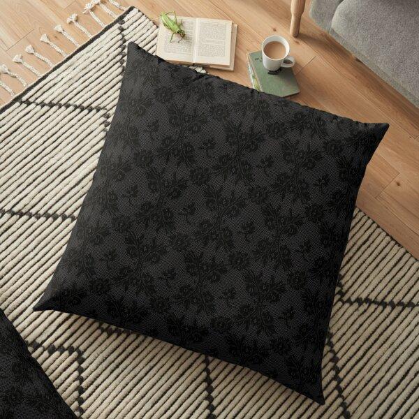 Intense Black Onyx black lace Floor Pillow