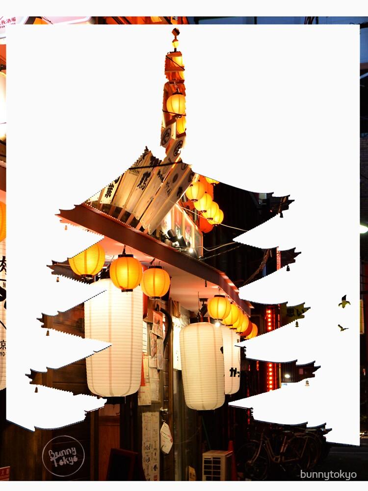 Shinjuku lights in Sensoji Pagoda by bunnytokyo