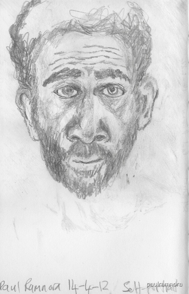 Self-portrait -(140412)- pencil on A5 size sketchbook by paulramnora