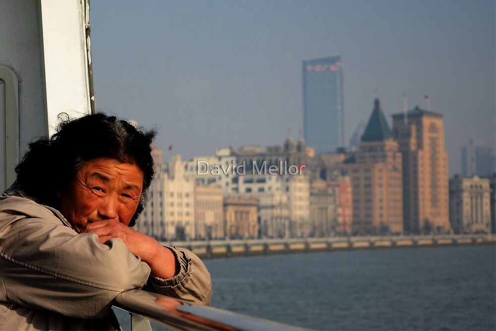 Crossing the Huangpu river, Shanghai, China. by David Mellor