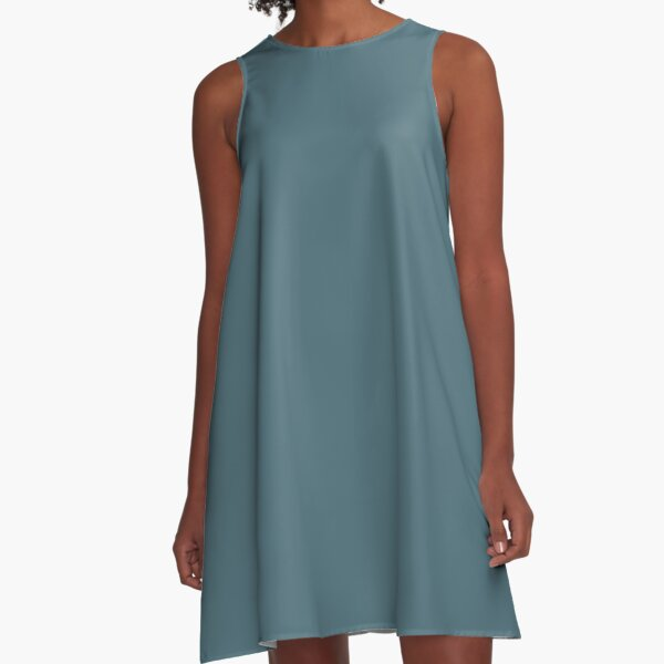 Deep Hydro blue solid colour A-Line Dress