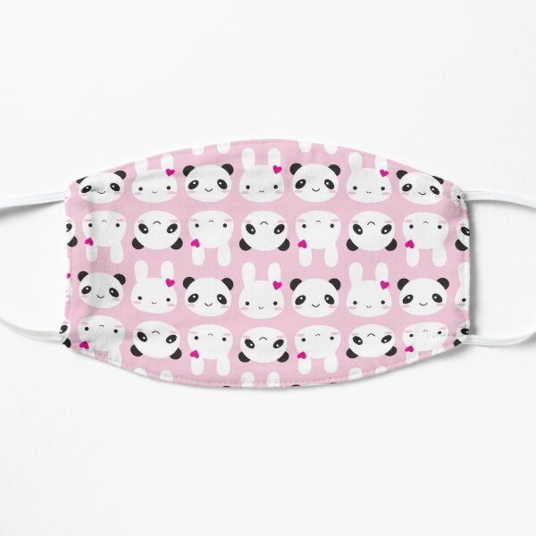 Super Cute Kawaii Bunny and Panda (Pink) Flat Mask