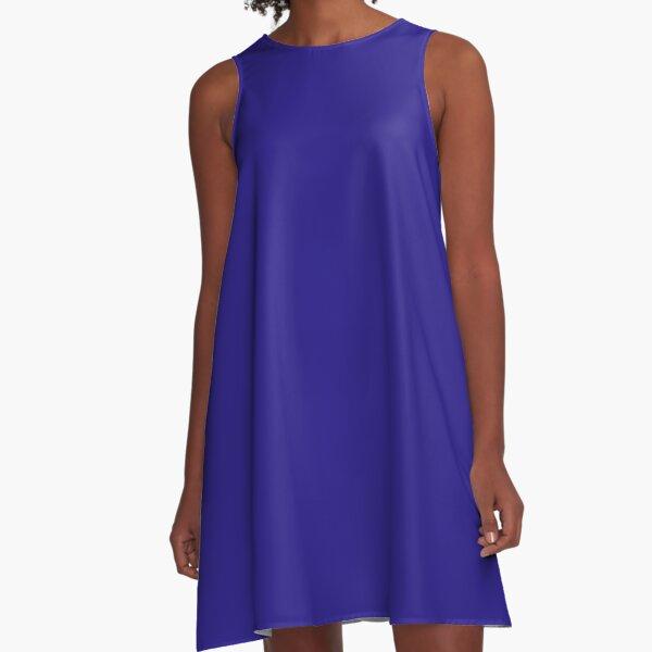 Brilliant Blue solid colour A-Line Dress