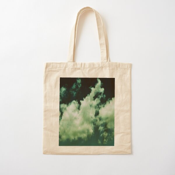 NEPHELAI SERIES Puffy clouds on teal  Cotton Tote Bag