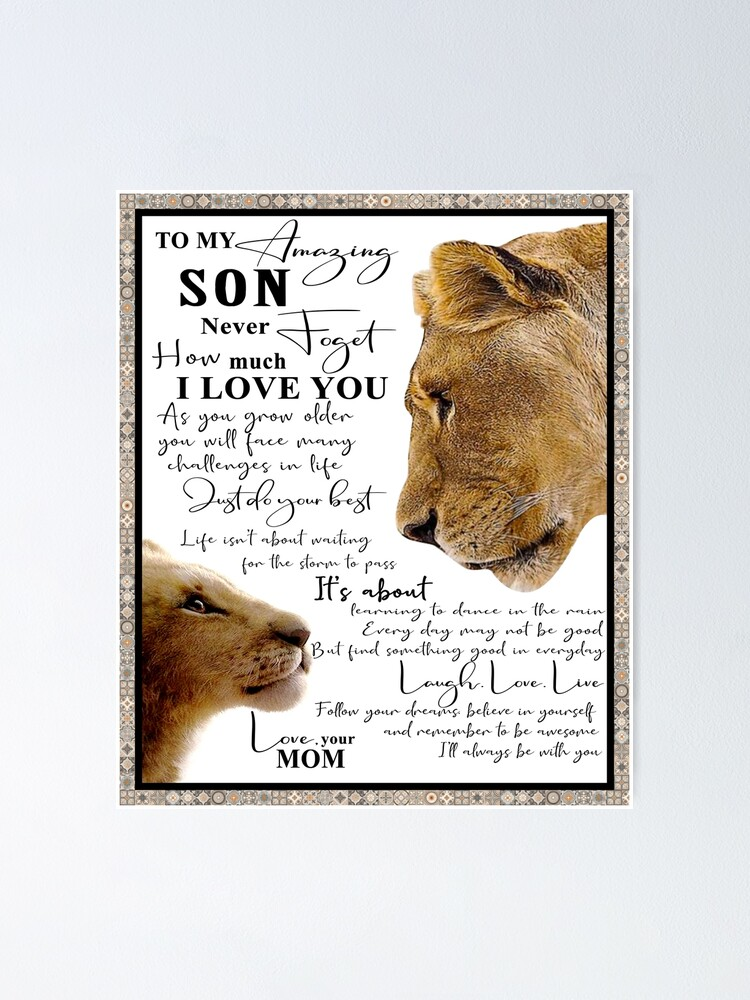 Lion poster to my grandson always remember how much i love you just do your best