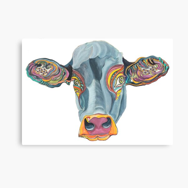 Cute Cow - Don't eat me  ... by Giselle Canvas Print