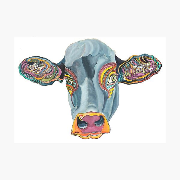 Cute Cow - Don't eat me  ... by Giselle Photographic Print