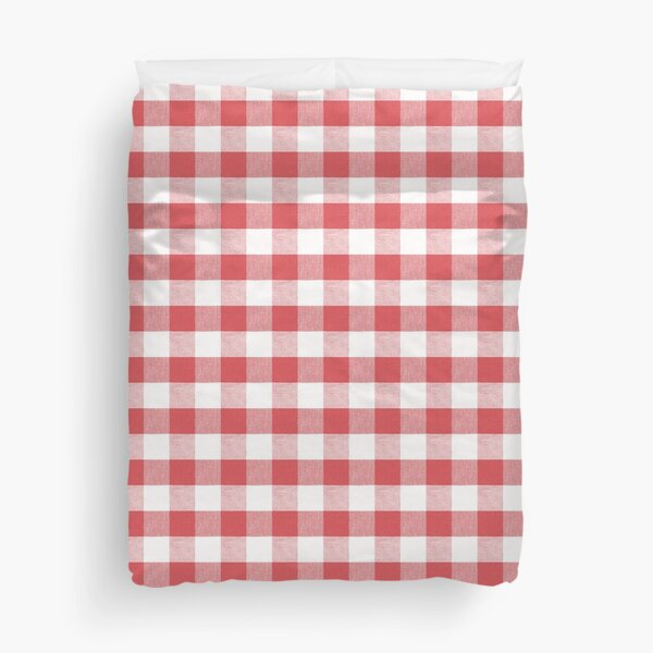 Fiery Red gingham fabric pattern Duvet Cover