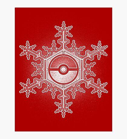 Pokeball Snowflake Photographic Print