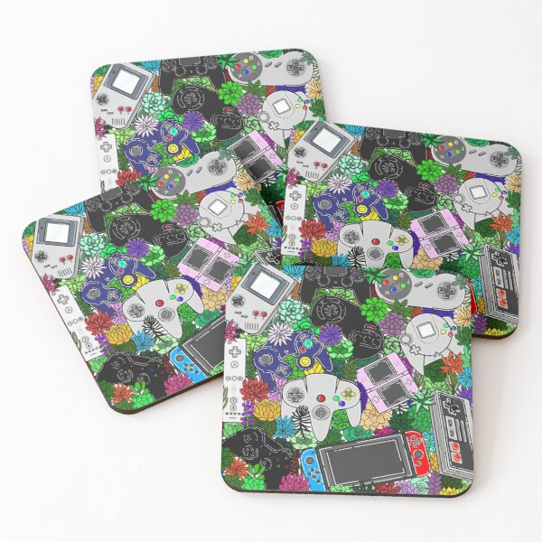 Retro Controllers and Plants  Coasters (Set of 4)