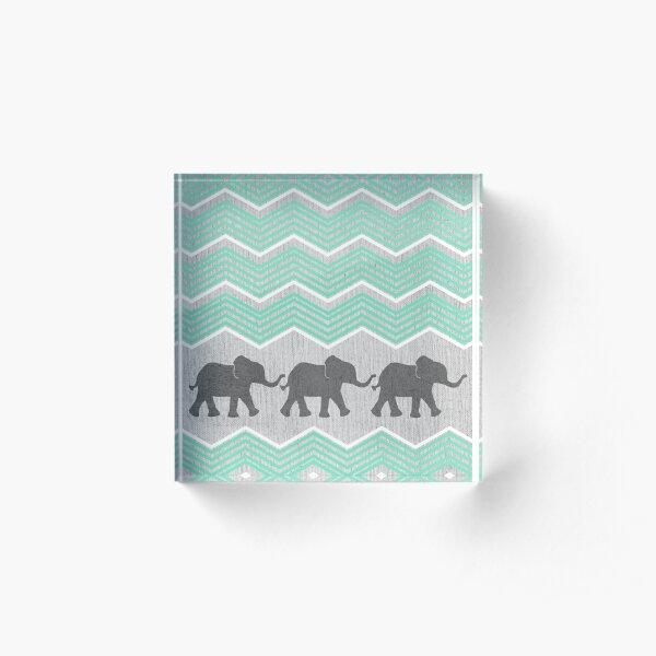 Three Elephants Acrylic Block