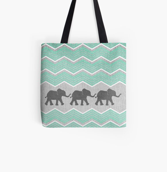 Three Elephants All Over Print Tote Bag