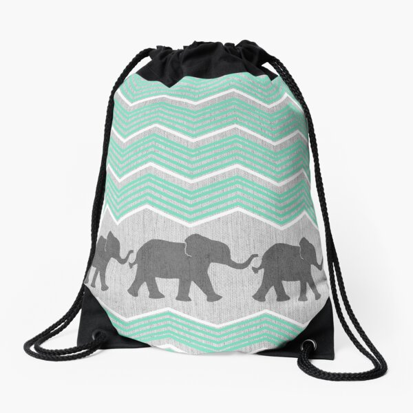 Three Elephants Drawstring Bag