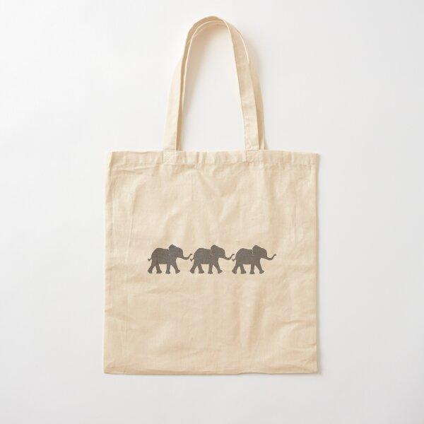 Three Elephants Cotton Tote Bag