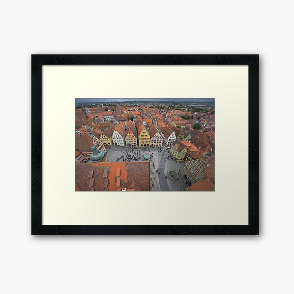Rothenburg Germany From The Town Center Bell Framed Art Print