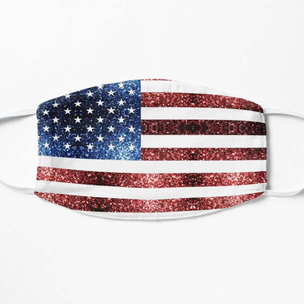 USA flag red blue sparkles glitters Mask