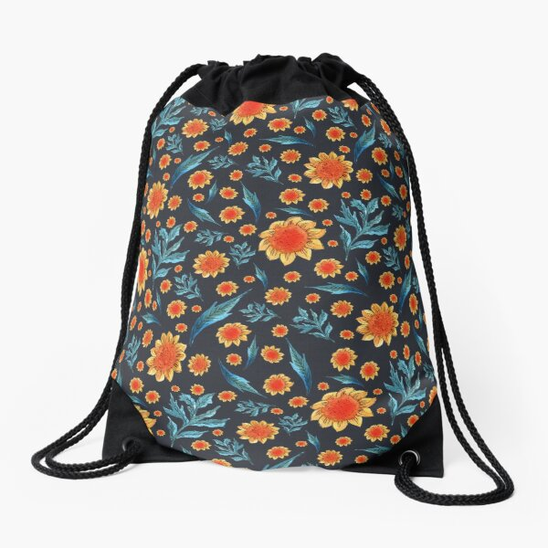 Sunflower pattern Drawstring Bag