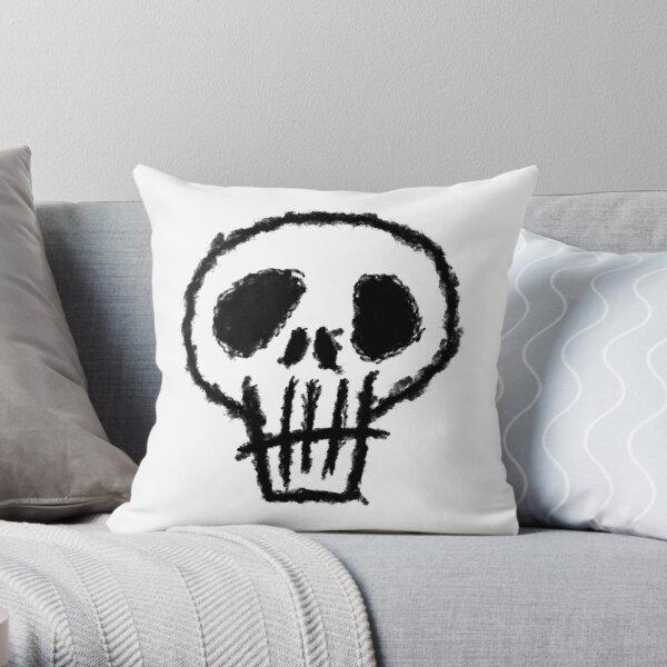 Totenkopf, minimalistische Zeichnung Dekokissen