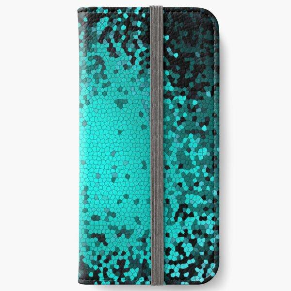 Teal Grid Pattern iPhone Wallet