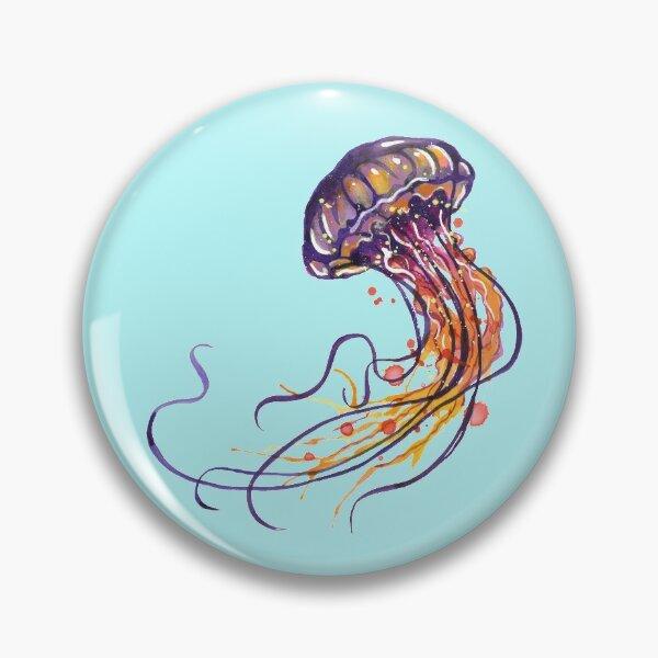 Jellyfish watercolor Pin