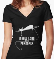 Spockat - Meow long and purrsper Women's Fitted V-Neck T-Shirt