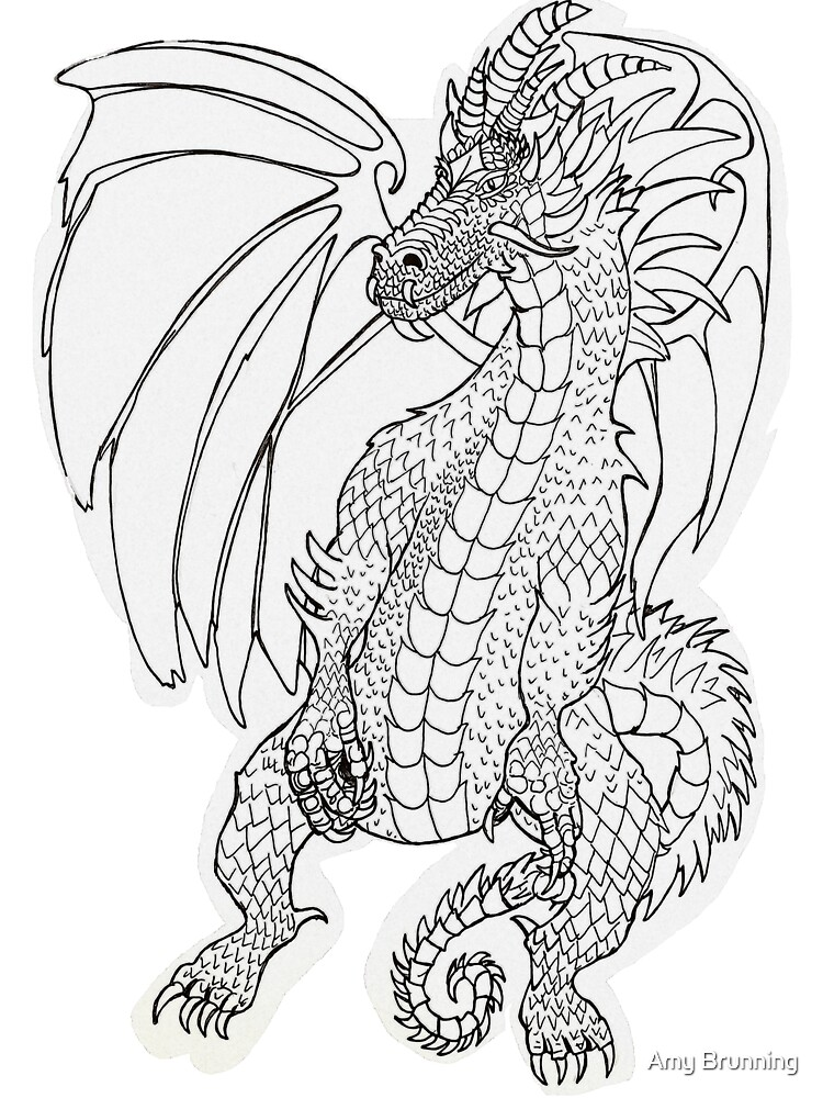 Thoughtful Dragon Colouring In