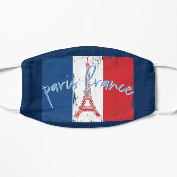 Paris France, Eiffel Tower, French Flag Distressed Vintage Souvenir Mask