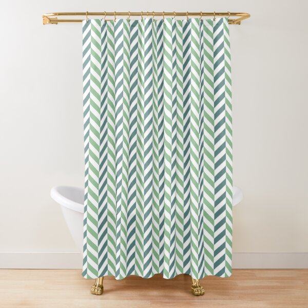 zigzag chevron green on white small scale Shower Curtain