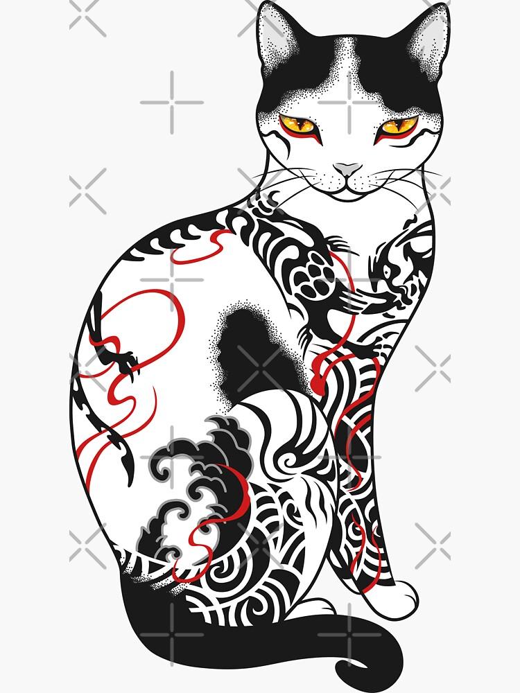 Cat in battling dragon love mates tattoo by runcatrun