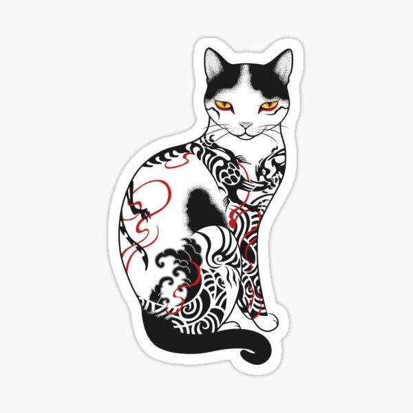 Cat in battling dragon love mates tattoo Sticker