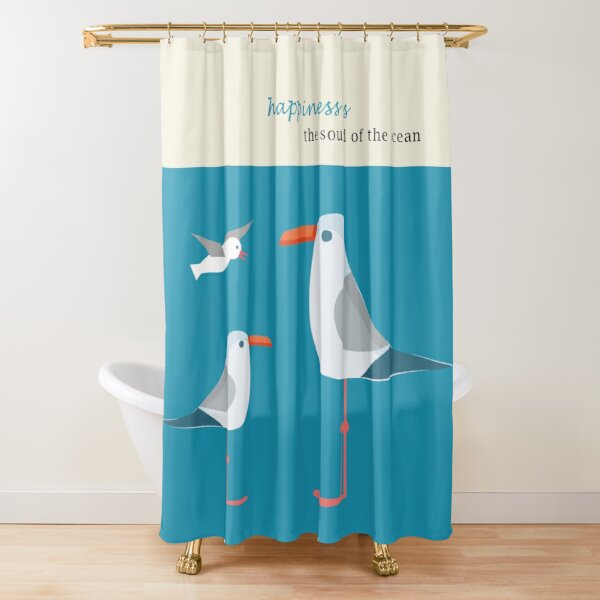 Coastal Happiness Ocean Shower Curtain