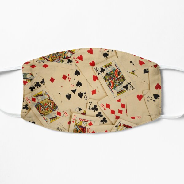 Scattered Pack of Playing Cards Hearts Clubs Diamonds Spades Pattern Flat Mask
