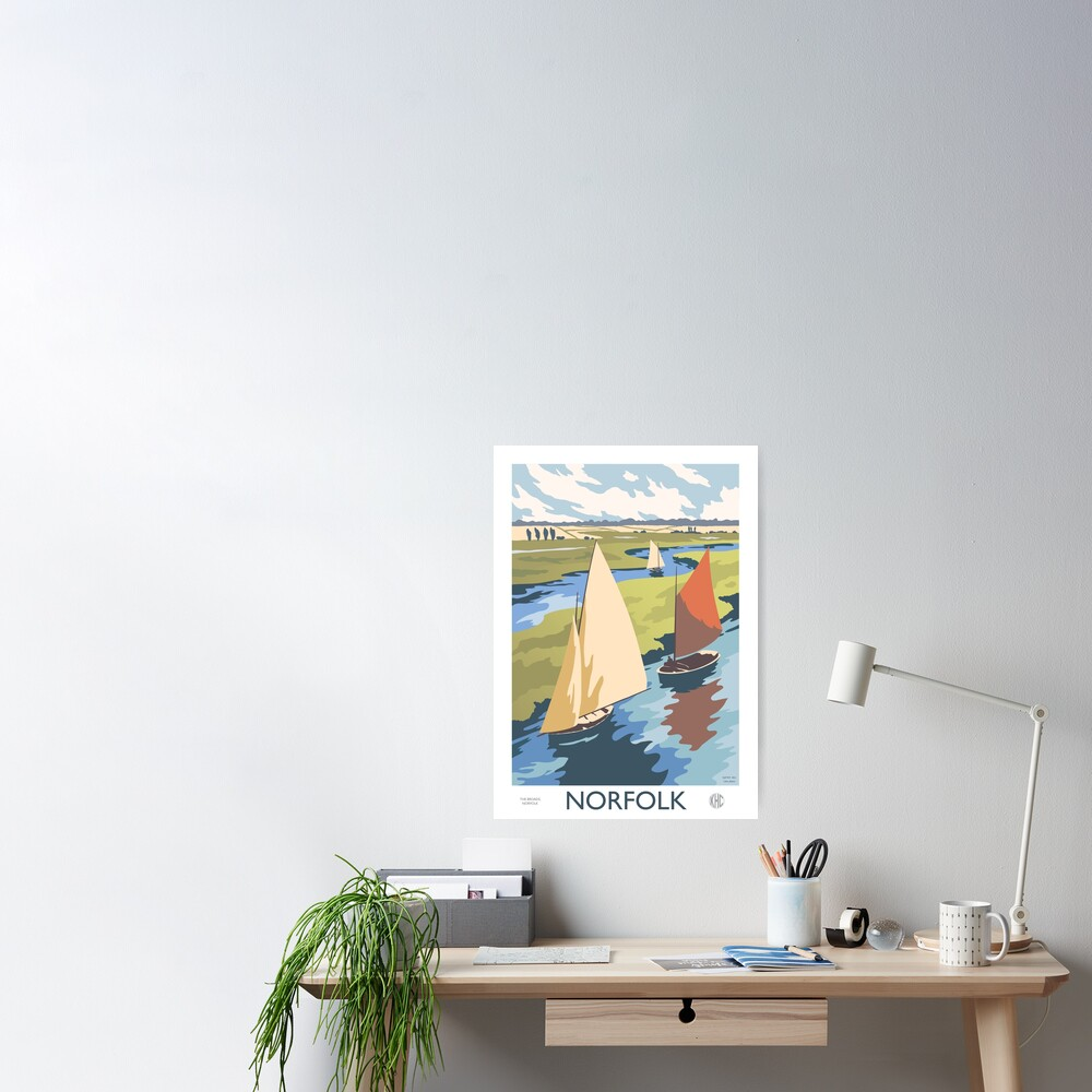 Norfolk Broads Sailing Boats Retro Vintage Poster Design Poster