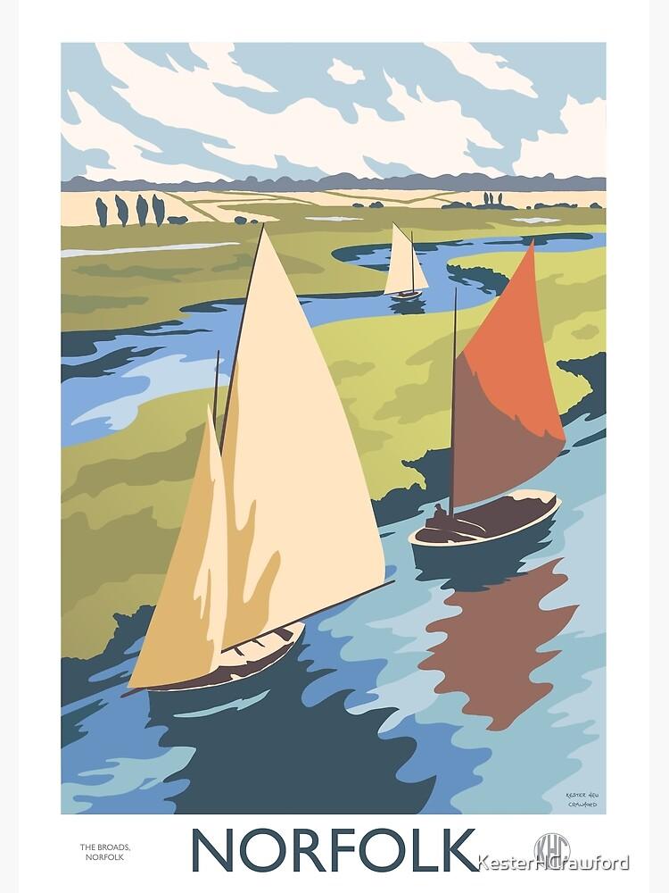 Norfolk Broads Sailing Boats Retro Vintage Poster Design by KesterHCrawford