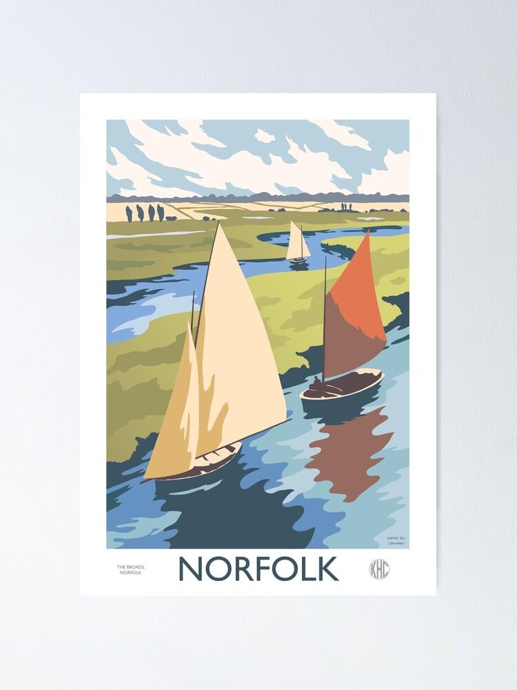 Alternate view of Norfolk Broads Sailing Boats Retro Vintage Poster Design Poster