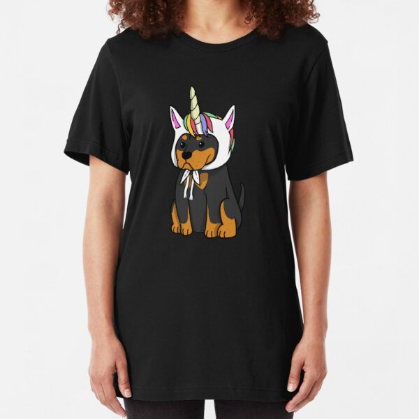 Funny Unicorn Rottweiler Slim Fit T-Shirt