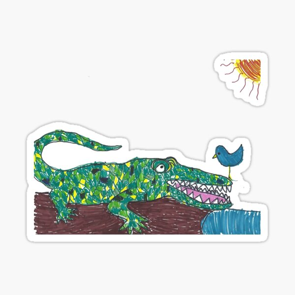 The Funny Alligator and the Bird Sticker