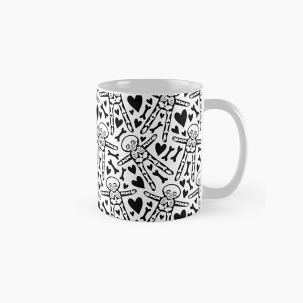 Skeletons with PINK eyes, black hearts and bones pattern  Classic Mug