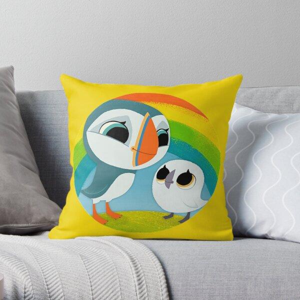 Puffins Preschool Gifts - Rocks - Irish Coast - Ireland - Cute Little Pre School Gifts - T shirts Throw Pillow