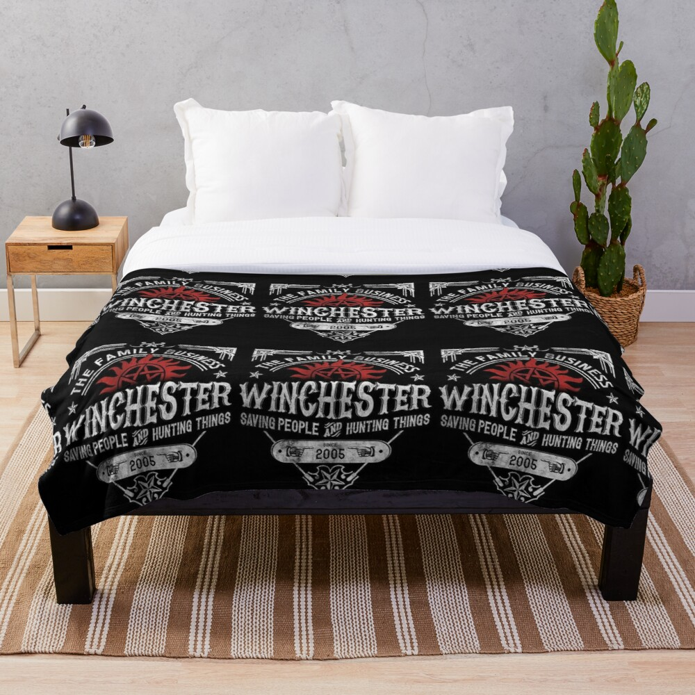 The Family Business Winchester Saving People and Hunting Things   Supernatural™ Throw Blanket